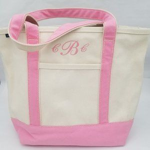 Lands' End Canvas Pink Natural Tote Bag CCB